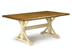 This table is a classic and timeless design suited for cottage or city...the chunky X base has  a nice graphic look and depending on the colour and finish, you can beef up the country or city quotient