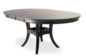 This Transitional table suits most spaces, not too contemporary or too traditional. In a dark finish, it provides a graphic , simple statement. I love the legs pinced into a pedestal base, easy to maneuver around , good for a tight space.