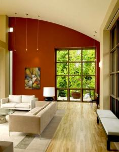 A space with an architecturally interesting shape can be easily accented with paint colour.