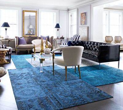This carpet collection from FLOR is a perfect use of the colour, the colleciton is called Rememberance